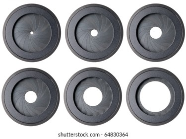 six aperture isolated on white background
