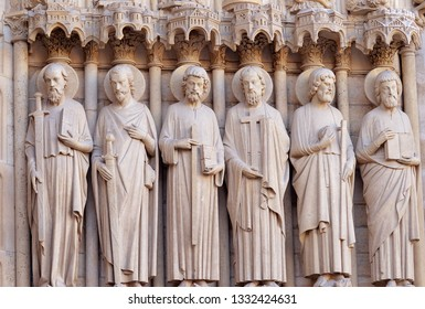 Six apostles by the portal of the last judgement on the western facade of Notre Dame cathedral Paris: St Paul, James the Greater, Thomas, Philip, St Jude, St Matthew