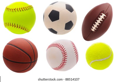Six assorted sports balls over a white background.