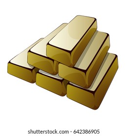 six bars of gold on a white background