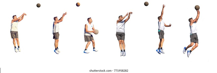 Six basketball players isolated on white background