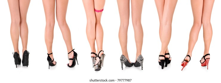 Six Beautiful Sexy Women's Long Legs in Heels