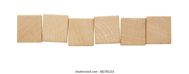 Six blank wooden tile pieces in a row isolated on a white background