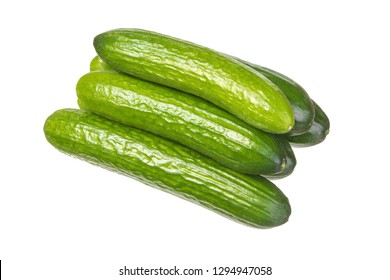 Six bright green cucumbers isolated on white background