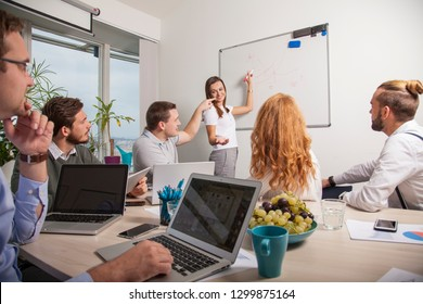 six business people during presentation of annual revenue in the meeting room. woman presents latest product lifecycle discussing with co-workers being watched by her boss. young start-up concept.