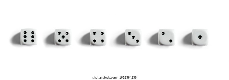 Six clean dices with Numbers 1, 2, 3, 4, 5, 6. Top view. White background banner