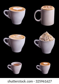 Six coffee cup collage set isolated on black background
