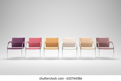 Six colored chairs in empty space 3D render