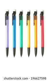 Six Colorful Pencils, Isolated on White Background