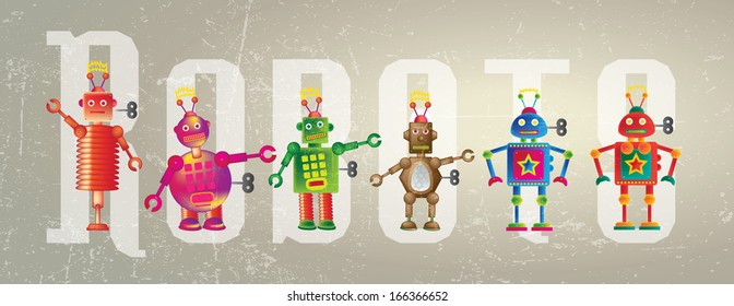 Six colorful robots set on a grunge style background set against the word Robot.