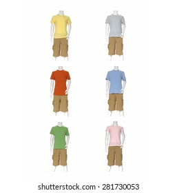 Six Colorful Shirt clothes on male mannequin collection
