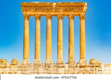 Six columns of Baalbek in Beqaa Valley, Lebanon. It is located about 85 km northeast of Beirut and about 75 km north of Damascus. It has led to its designation as a UNESCO World Heritage Site in 1984.