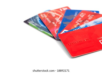 Six credit cards collection isolated on white