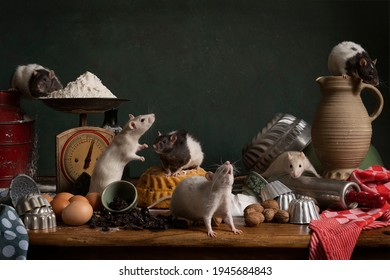Six cute  white and brown rats sitting in a stil life scene themed baking cake green background - Shutterstock ID 1945684843