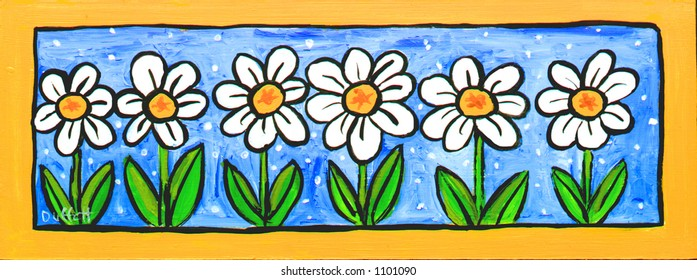 Six Daisies Illustration, Painting