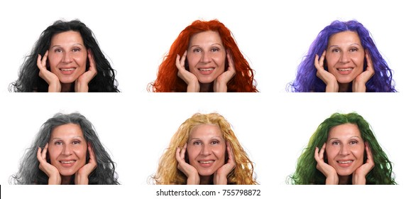 six different colors of the hair of a mature caucasian woman smiling isolated on white background: black, gray, red, purple, green, blond