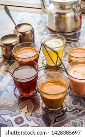 Six different flavors of Pakistani tea which is Kahwa, Kashimiri, Black Tea, Doodh Patti, Adrak ki chay and Alaichi wali chay.