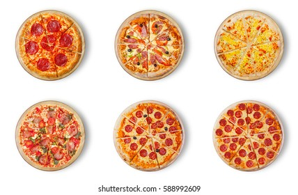 Six different pizza set for menu. Pizza with salami, pizza with mozzarella, salami, sausages, pizza four cheese, pepperoni and ham, The last two kinds of pepperoni.