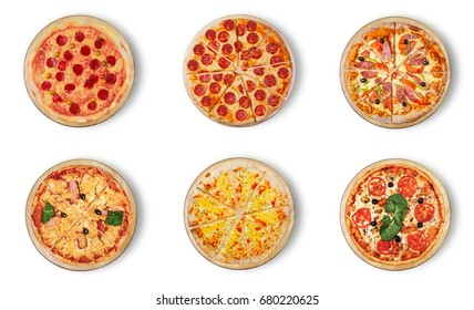 Six different pizza set for menu. Meat pizzas with 1-2)Pepperoni 3) Pepperoni Peppers and Sausage 4) Hawaii 5)Pizza four cheese 6) with seafood.
