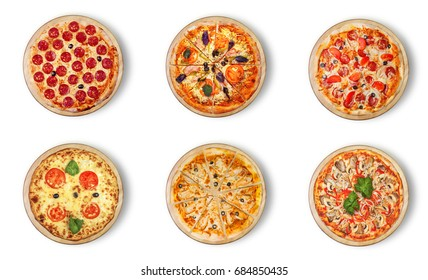 Six different pizza set for menu. Meat pizzas with 1)Pepperoni 2)Pizza with bacon 3) pepperoni 4)Margarita 5) BBQ chicken pizza with olives  6) With seafood