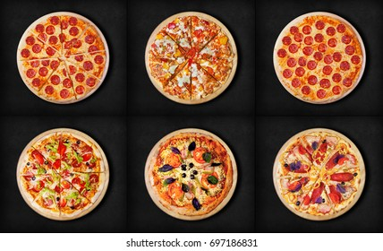 Six different pizza set for menu. Pepperoni, BBQ chicken, pepperoni cut,  deluxe, pizza with ham, pizza with salami, ham and bacon,