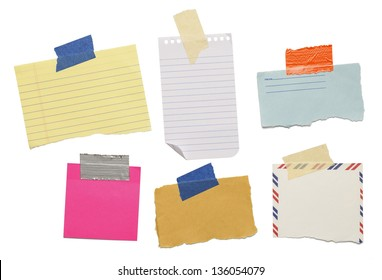 six different scraps of paper notes isolated on white background.