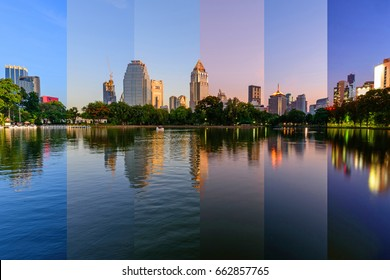 Six different shade of the lake view in city in different time / Lake view in the city