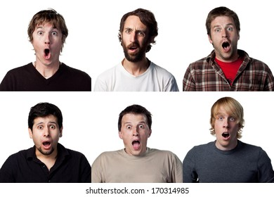 six different shocked faces