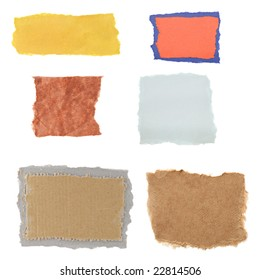 Six different torn paper scraps isolated on a white background.