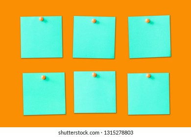 Six empty copy space blue green memo reminder cards with pins isolated on orange background. To do blank list business organiser board.