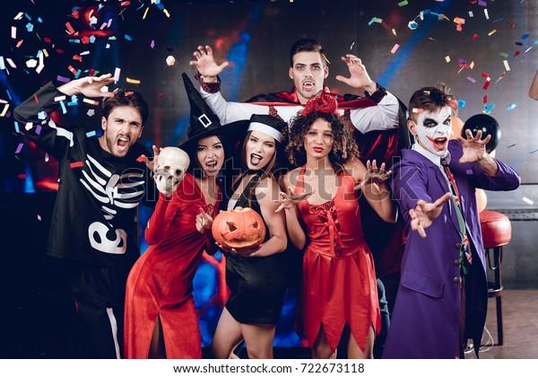 Six Friends Costume Cine Villains Posing Stock Photo (Edit