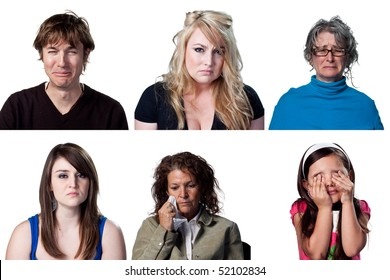 Six full size images of crying people