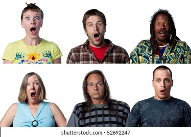 Six full size images of surprised people