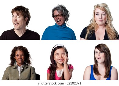 Six full size images of winking actors