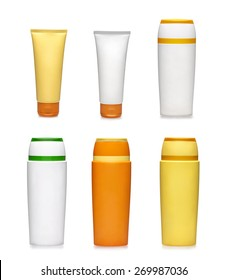 Six generic containers. Beauty goods. Sunscreen bottles on white background