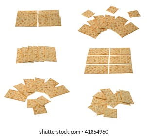 Six groups of crackers isolated over white background.