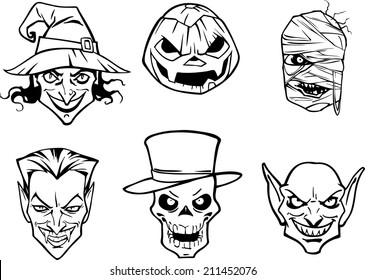 Six halloween heads