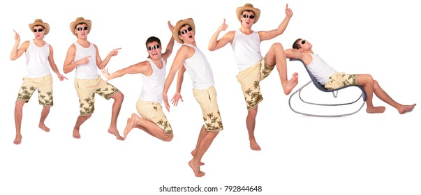 Six happy man in sunglasses and hat dance and pose isolated on white, collage with one model