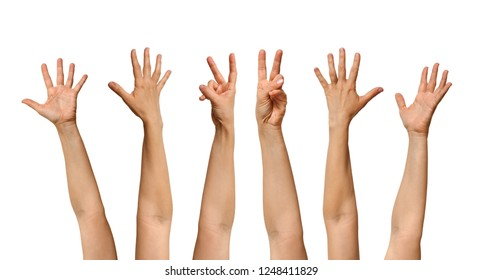 six human hands waving on white background