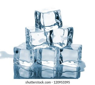 Six ice cubes with reflection isolated on white background