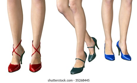 Six legs and three pairs of shoes, red, blue, back, fashion illustration of three woman from the knee down.