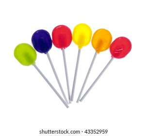 Six lollipops isolated on white background.