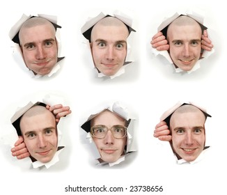 Six man's faces looking through holes in a paper