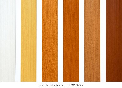 Six maple wood samples in brown palette