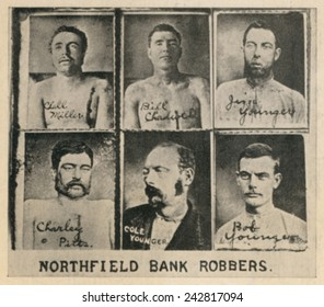 Six members of the James-Younger Gang members killed or captured in the disastrous Northfield, Minnesota bank robbery of Sept. 7, 1876. Bill Chadwell and Clell Miller were killed in front of the bank.