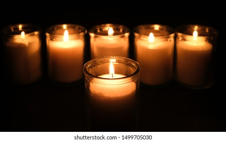 Six memorial candles to remember the six million Jews that perished in the Holocaust during World War Two.