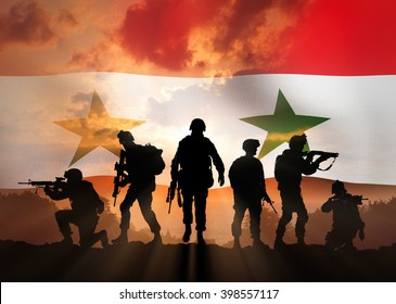 Six military silhouettes against the backdrop of the Syrian flag