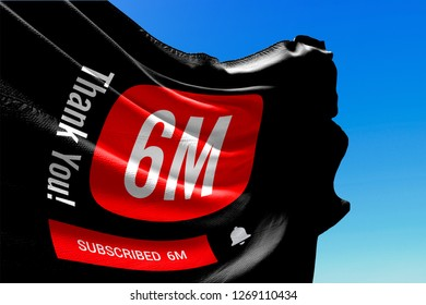Six Million Subscribers, Flag Waving, Thank You, Number, 6000000, 6M, Colored Background, Blue Sky, Concept Image, 3D Illustration