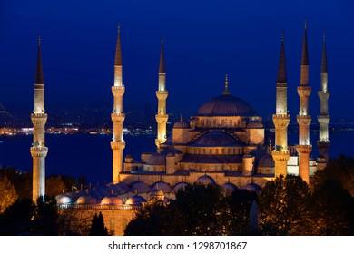 Six minarets of the Blue Mosque lit at twilight on the Bosphorus Sultanahmet Istanbul Turkey
