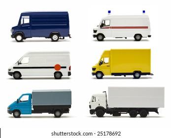 six miniature models of german trucks and vans